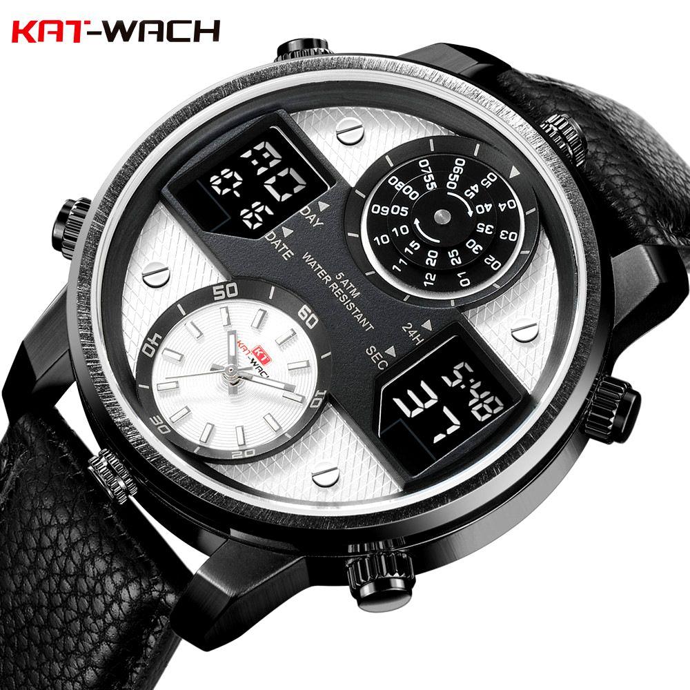 aab878bc17c Compre KAT WACH Homens Relógio De Quartzo Relógios Digitais De Couro  Criativo Pequeno Ponteiro Grande Relógio De Discagem Relógio De Pulso À  Prova D  Água ...