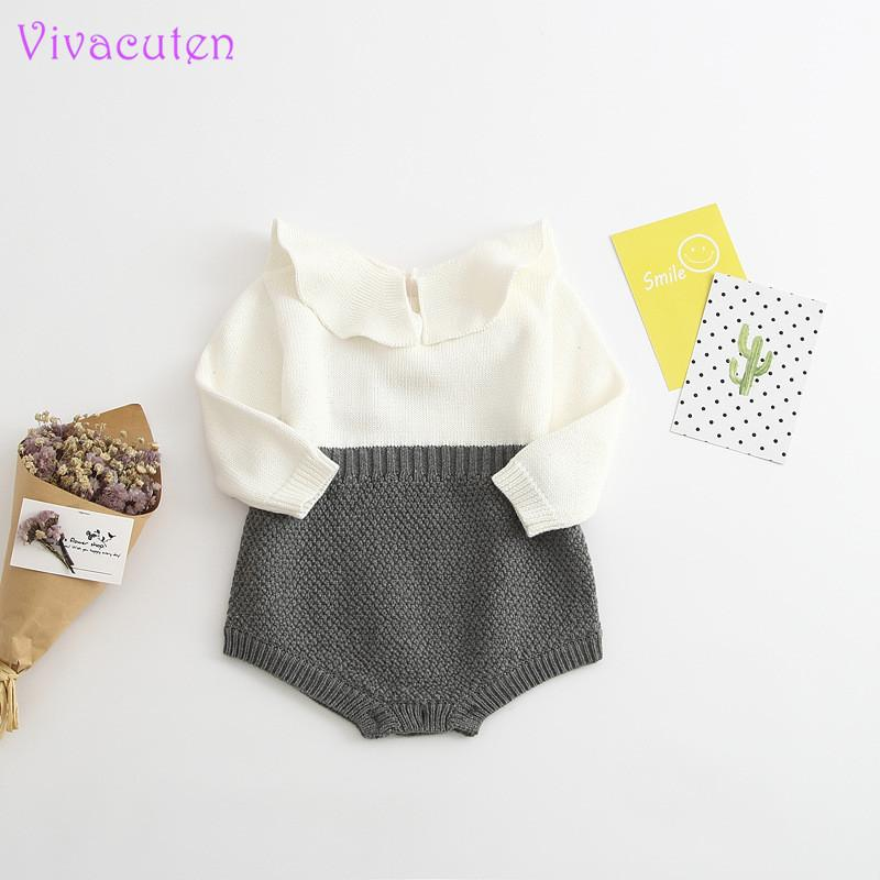 2017 Spring Autumn Cute Princess Baby Romper Newborn Baby Clothes Kids Girls Boys Long Sleeve Jumpsuit Infant Knitted Rompers Y19050602