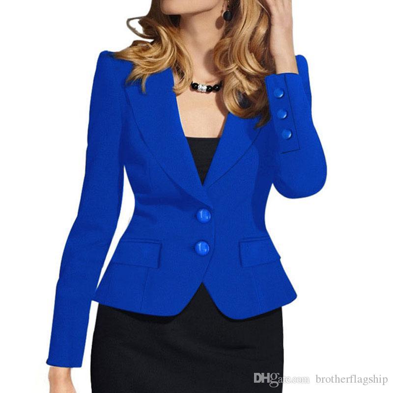 2eb517ad4af15 Compre Chaqueta Para Mujer Ropa De Trabajo Con Botones Traje Chaqueta Mujer  Oficina Señora Formal Chaquetas Y Chaquetas Para Mujer Chaqueta Para Mujer  A ...