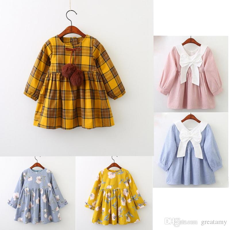 c66cf7ea0 2019 5 Styles Long Sleeve Baby Girl Dress Plaid Ball Printed Children  Skirts New Fashion Kids Autumn Clothing From Greatamy, $10.06 | DHgate.Com