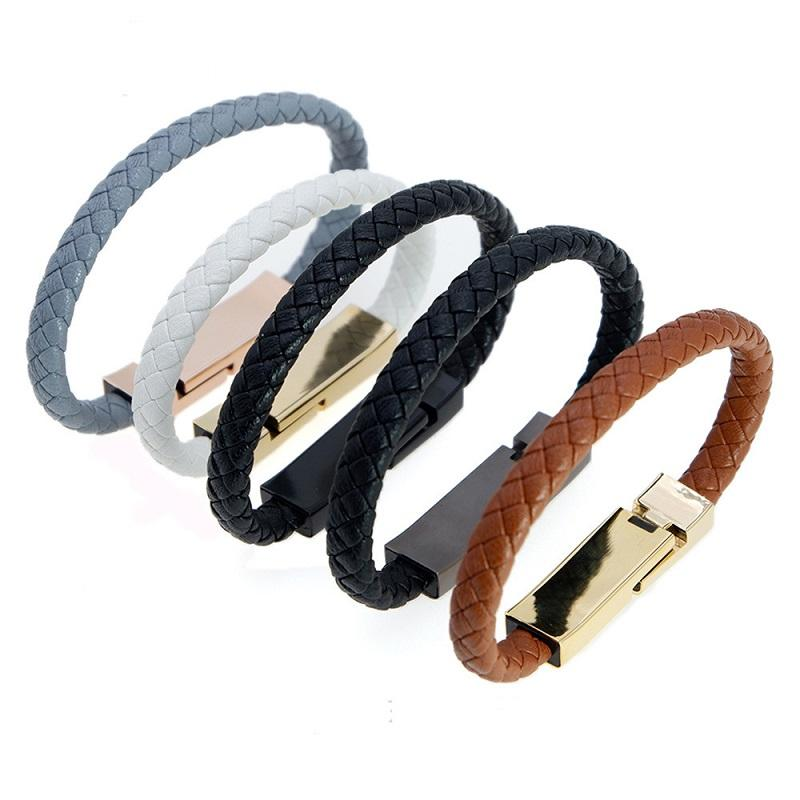 36b972223895 Pu Leather Bracelets Iphone USB Cable Braided Data Line 19CM Wriststrap for  Men Women Jewelry Gifts Customzed Bangles Wholesale