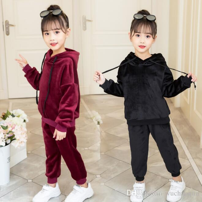 dce794eeeb5c99 2019 Baby Girls Clothes Kids Clothing Children Tracksuit Kids Designer  Clothes Girls Sports Casual Suit Gray Red Navy Blue Hooded Top BY0673 From  ...