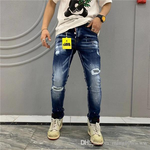Brand New Mens Jeans Distressed Ripped Biker Jeans Slim Fit Motard Jeans 2019 Pantalons Designer Fashion