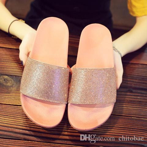 Diamond Sequins Slippers for Women Summer Scuffs Fashion Sandals Beach Slippers hot sale