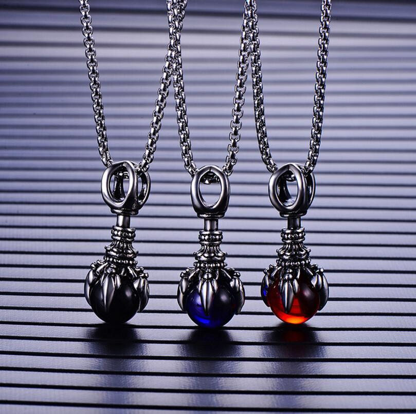Retro Trend Dragon Claw Men Stainless Steel Dragon Claw Hot Style Black Red Blue Pendant Necklace Fashion Jewelry