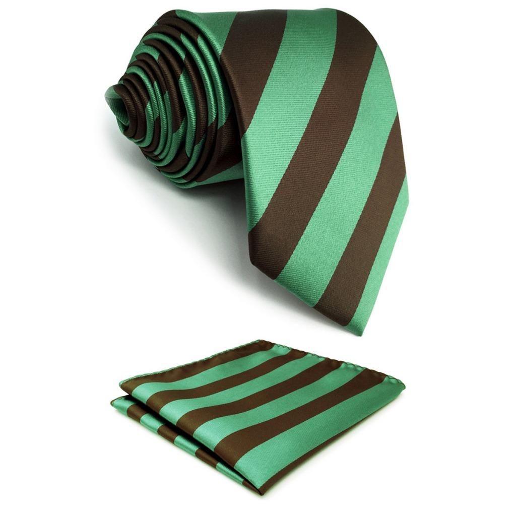 green brown striped silk mens necktie tie fashion extra long size  green brown striped silk mens necktie tie fashion extra long size classic pocket square set skinny tie black bow tie from maocai, $34 22 dhgate com