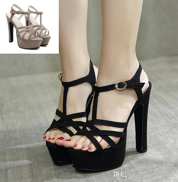 22aa2946a1fc9 Sexy2019 Comfortable T Strap Thick High Heel Gladiator Sandals Party Club  Wear Khaki Online with  59.54 Pair on Chagall s Store