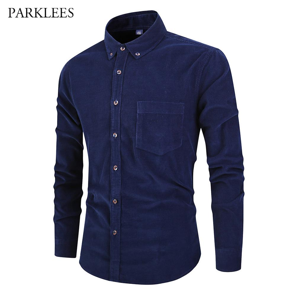 Navy Blue Cotton Corduroy Shirt Men Vintage Soft Casual Slim Fit Mens Solid  Dress Shirts 2019 Spring Autumn Harajuku Male Blouse