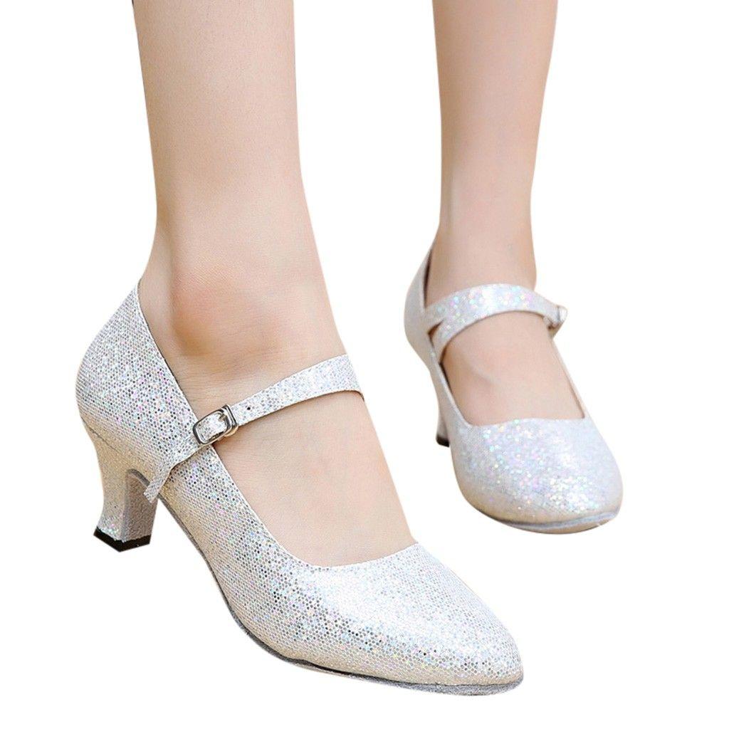 fb484502811182 Acheter Chaussures De Danse Pailletées Talons Hauts Femme Chaussures De Bal  Ballroom Latin Tango Chaussures De Danse Rumba Escarpins Femme 2019 Boucle  De ...