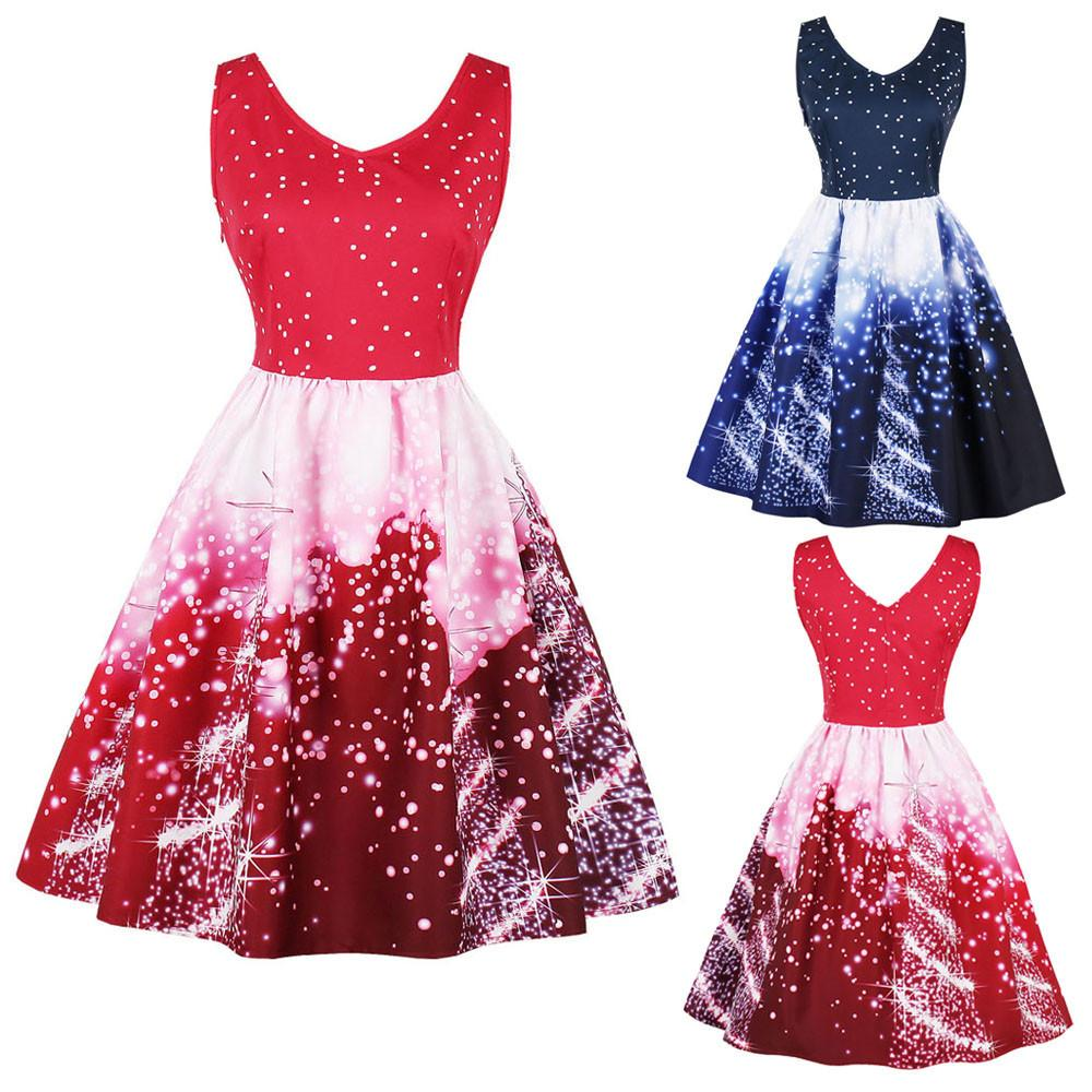 Christmas Women Dress Santa Plus Size 4xl Christmas Party Dresses Vintage  Xmas Swing Mini Dress Vestido Curto Robe Femme Womens Long T Shirt Dress  Casual ... 517bf5cff0eb