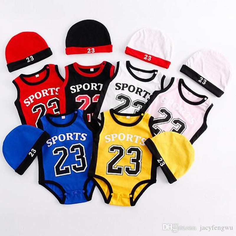 391126867cd 2019 Baby Basketball Jerseys Romper Kids Scoks Girls Boys Clothes Cotton  Stitch Jumpsuits Infant Rompers Children Toddler Boutique Cap 0 3 BB051  From ...