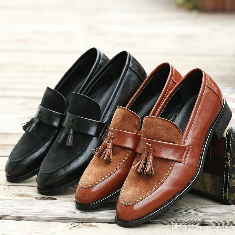 af6fdb5f9bf399 Tassel Design Mens Dress Shoes Black Brown Solid Color Wedge Heel Slip On Loafers  Formal Shoes For Men Silver Heels Dress Shoes From Hizishoe, ...