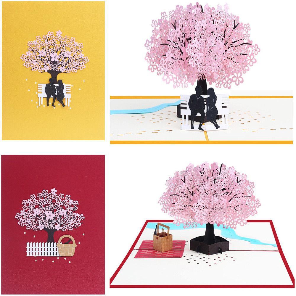 Wedding Gift Card Invito 3D stereo Biglietti di auguri romantico Fiore di ciliegio Grande a mano festa di compleanno di San Valentino di Natale