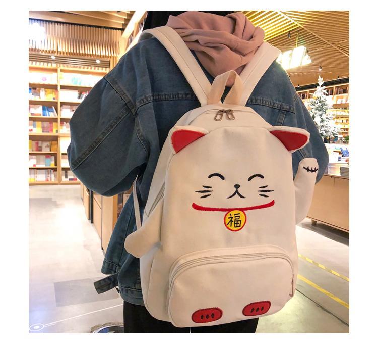 Cute Cartoon Backpack Cat Ear Girl Schoolbag for Teenage Women Back Pack Canvas Animal Shape School Backpack Famale Teen Bagpack