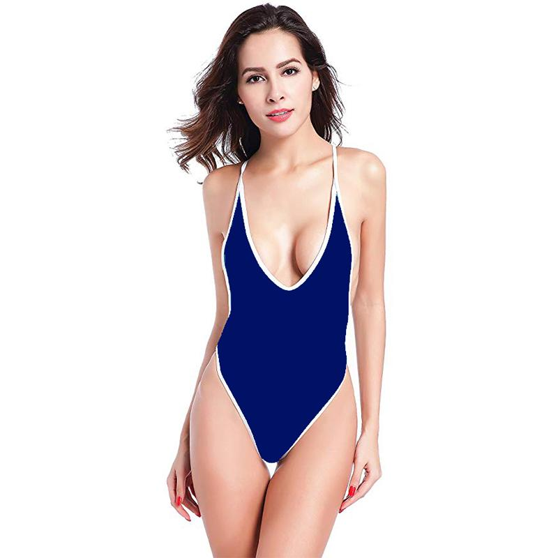 693b0509b50 2019 New Deep V Neck Swimsuit Women Backless Bathing Suit Sexy Low Cut  Swimwear S 2XL Girl Solid Color Monokini Retro One Piece Suit From  Luanxiaobo