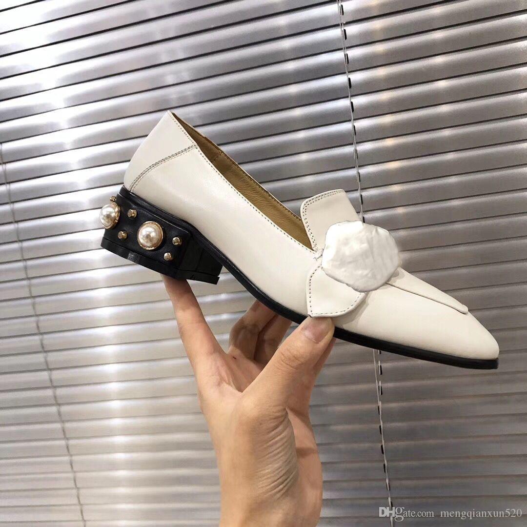 클래식 하이힐 보트 신발 100 % 가죽 직업 진주 하이힐 신발 금속 두꺼운 발 뒤꿈치 게으른 여자 드레스 신발 큰 크기 35-41-42