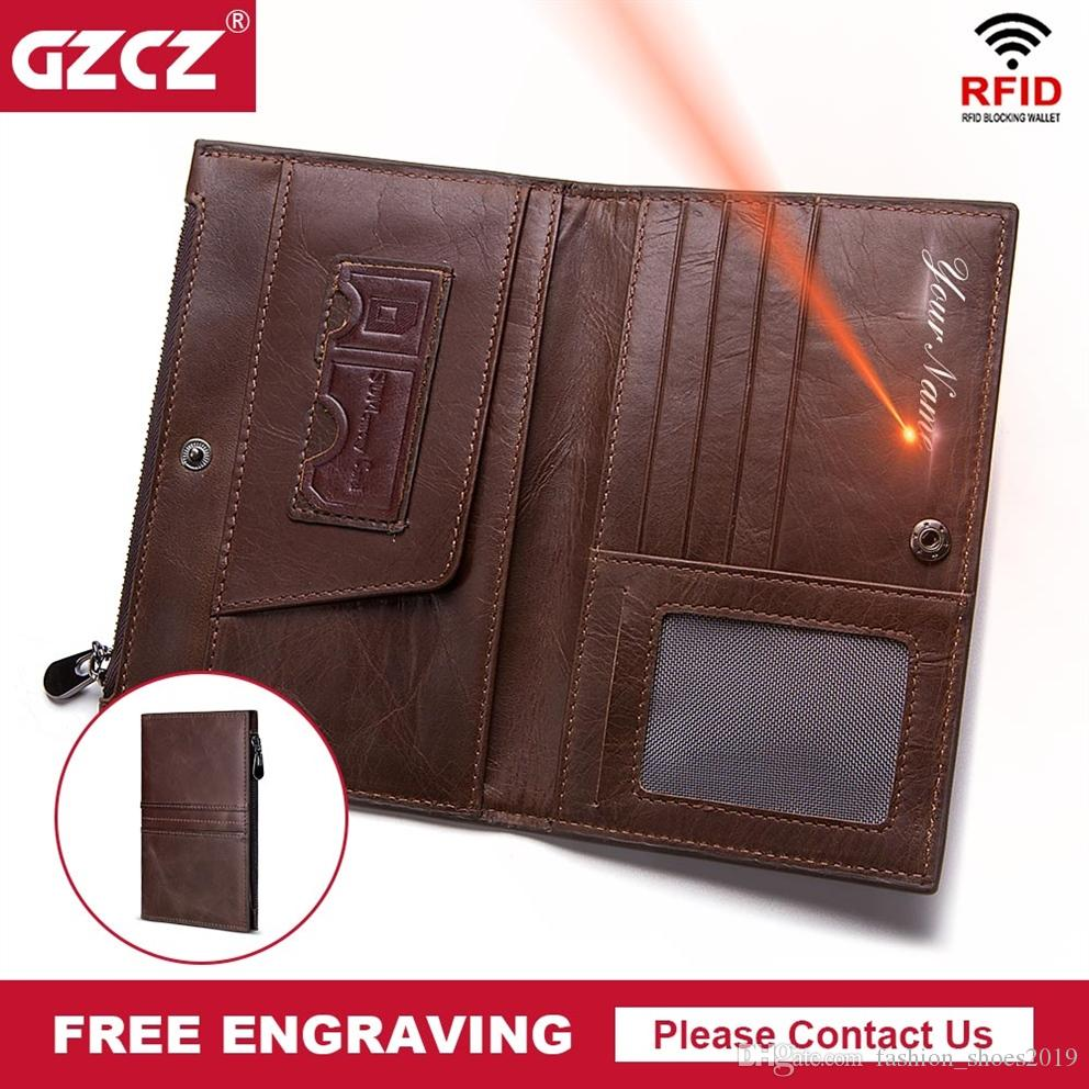 GZCZ Genuine Leather Men Wallet RFID Male Coin Purse Bifold Long Wallets Zipper Poucht Clamp For Money Portomonee Free Engrave #125099
