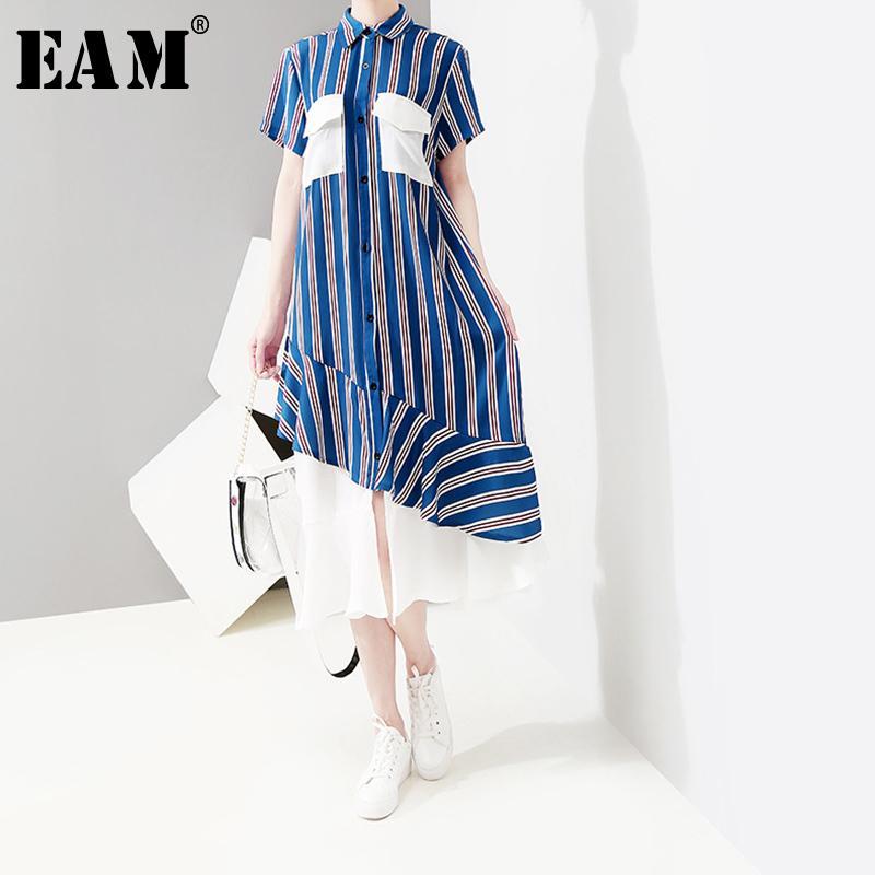 4378a3b569e62 [EAM] 2019 New Spring Summer Lapel Short Sleeve Blue Striped Hem Pleated  Chiffon Stitch Shirt Dress Women Fashion Tide JU287