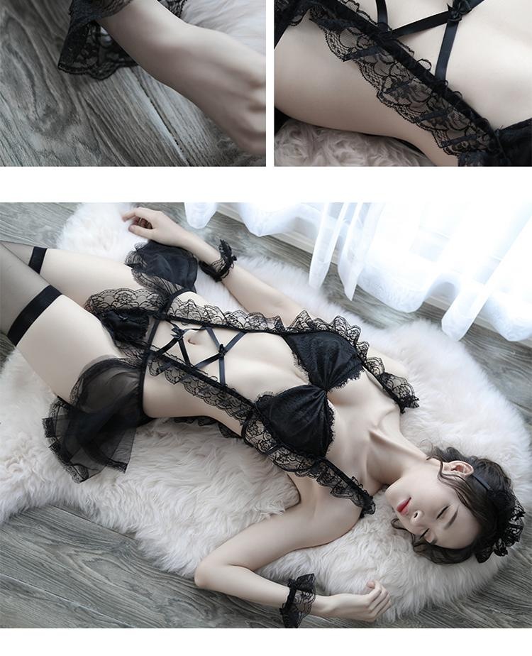 Women's Fantasy Sex Clothing Intimate Lingerie Set Sexy Exotic Maid Costume Role Playing Erotic Clothing Transparent Lingerie s