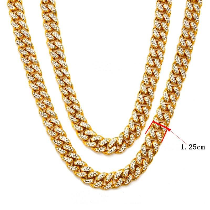 415c258fe8e39 Fashion Hip Hop Necklace Jewelry New Iced Out Gold Chains For Men Gold  Silver Miami Cuban Link Chains