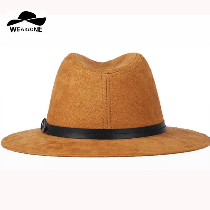 Wearone 2017 Crazy Jazzhat Unisex Suede Wide Brim Spring Felt Fedoras Hats  Women Vintage Wide Brim Floppy Chapeau Femme Pnama Ha D19011102 Trilby  Stetson ... 10e4b8ec826