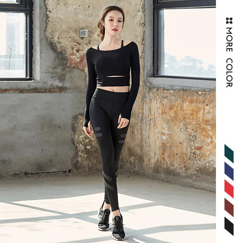 Outdoor Sport Bodybuilding Suit Woman Speed Do Yoga Pants Long Sleeve Yoga Serve Three-piece