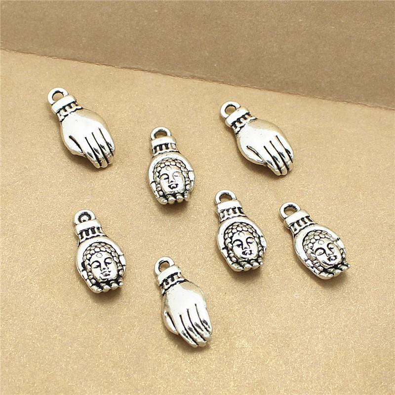 Sweet Bell 250pcs 8*18mm wholesale lovely Antique Silver buddha charm hand charm D1076