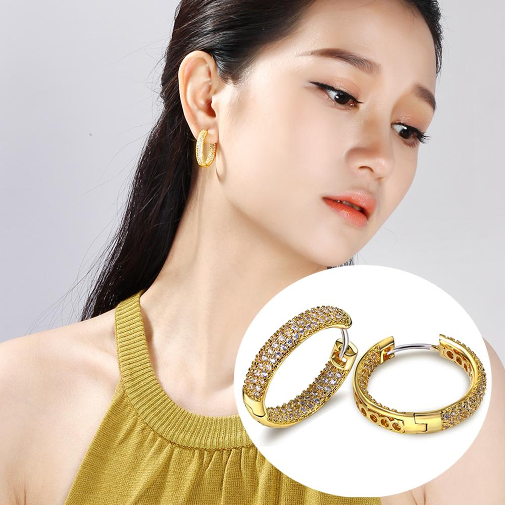 1a3cebd4f 2019 Earrings Hoop Earrings Hot Hoop Earring For Women Gold And White Micro  Pave Tiny Cubic Zirconia Crystal Circle Female Jewelry Accessories From  Feng112, ...