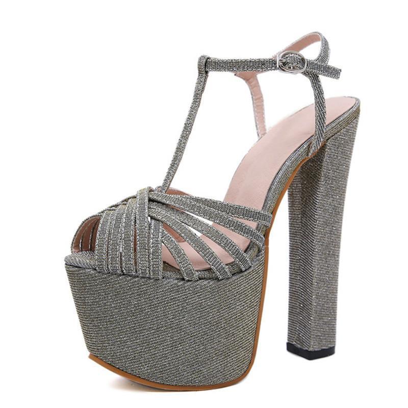 3441f9a47092d Acheter Mode Paillettes D or Femmes Sandales Escarpins Chaussures Peep Toe  Boucle Sangle Chaussures Sexy Talons Hauts Sandales Gladiateur Femmes De   56.79 ...