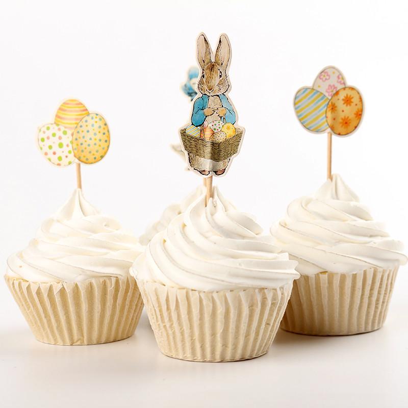 24 Unid Huevo de Pascua Conejo Decoración de la Torta Decoración de Fiesta de Cumpleaños para Niños Ducha de Bebé Decoración de Pascua Decoración Del Banquete de Boda. Q