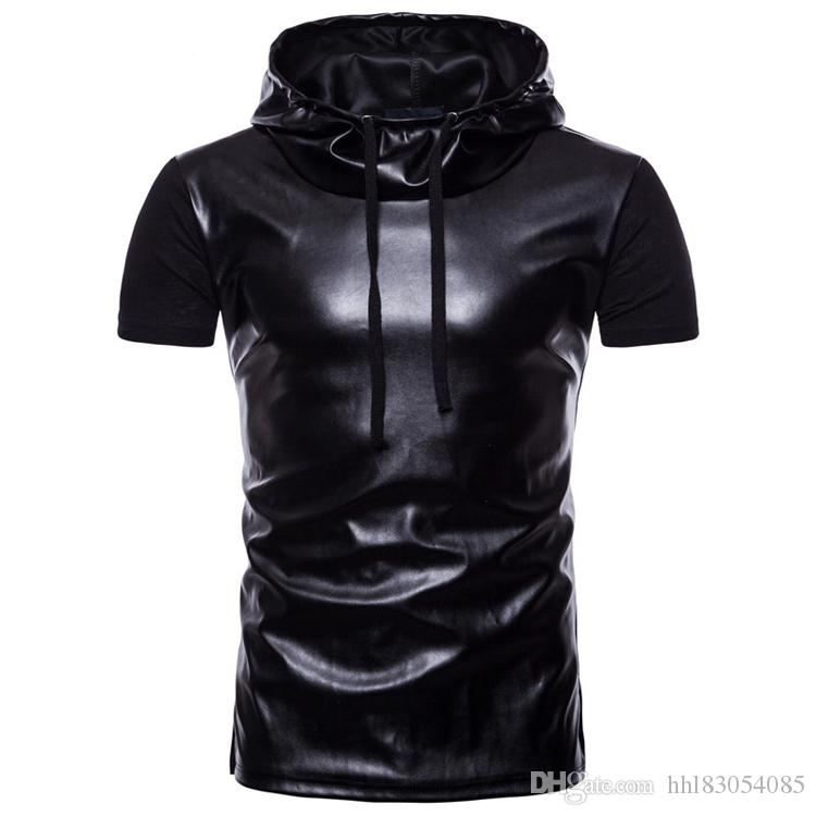2019 New Summer Hooded Black Leather T-shirt Men Short Sleeve Slim Fit Casual Punk Rock Nightclub Hip Hop Tee Shirt Homme M-2XL
