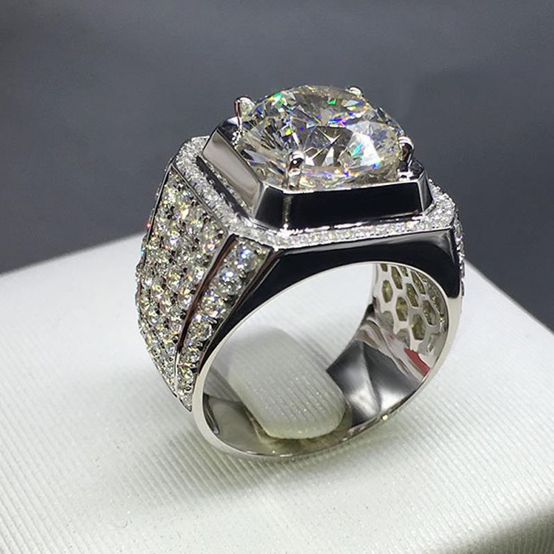 14k White Gold Zircon Luxury Hive Big Ring Trendy Man Diamond Gemstone Anillos Bague Rings Bizuteria White Diamond Anel Jewelry J190703