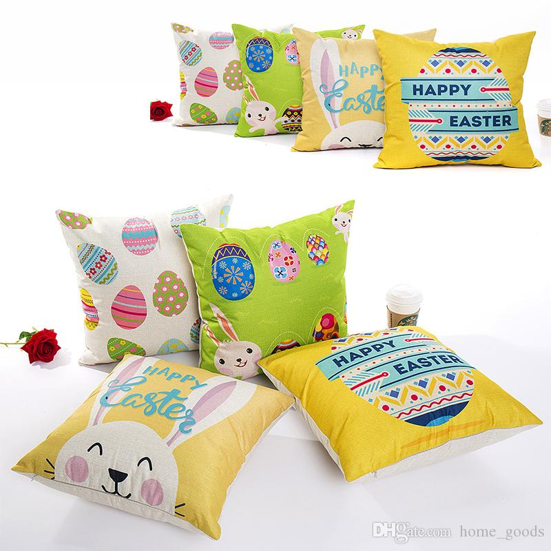 Home & Garden 45*45cm Easter Sofa Bed Home Decoration Festival Pillow Case Cushion Cover Easter Rabbit Happy Easter Egg Printed Pillow Cover B