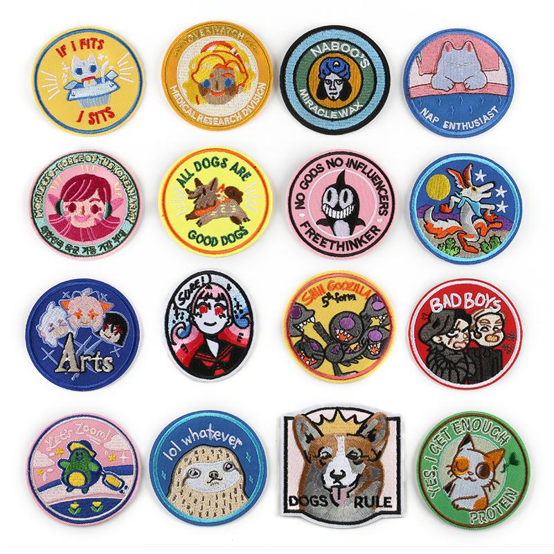 100 PCS Round Animals Patches for Clothes DIY Stripes Iron on Cats Appliques Dogs Thermo Clothing Stickers Embroidery Badges @C
