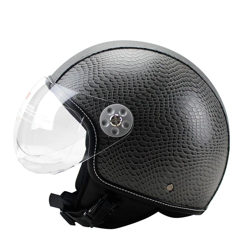 Motorcycle Motorbike Rider Half PU Leather Retro for Helmet Visor With Collar Open Face Half Motor with dual lens