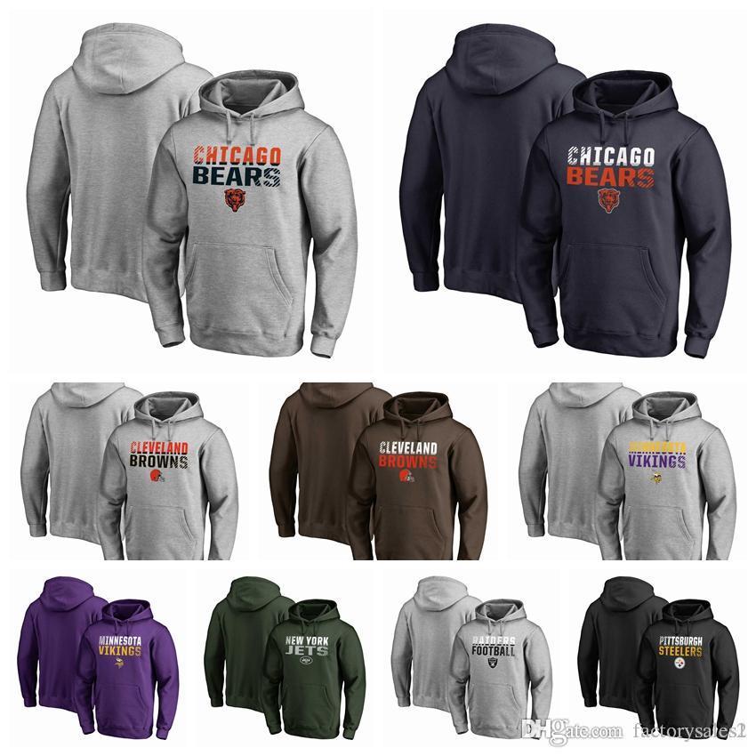 Mens 2018 Brand Hoodie Bears Browns Vikings Jets Raiders Eagles ... 49317e767
