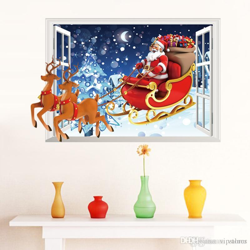 Christmas Tree Sleigh Santa Claus Window Decals Pvc Waterproof Removable Self-adhesive Wall Sticker Home Bedroom Decoration Home & Garden