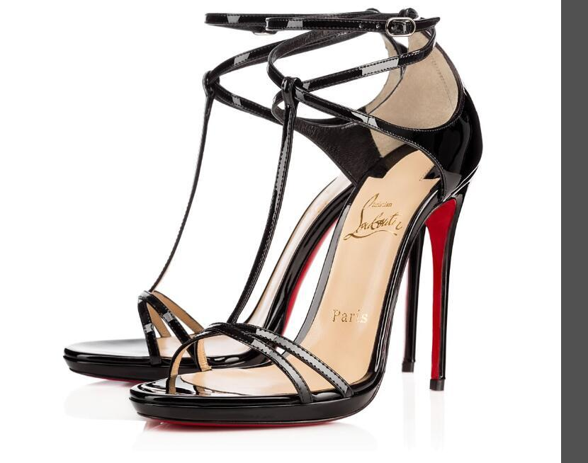 8d866fbcd3a Christian Louboutin CL Luxury Style High-heeled Sandals with Straps Lady  Shoes Paris Supermodel Catwalk Buckle Sexy Shoes Size 34-42 12
