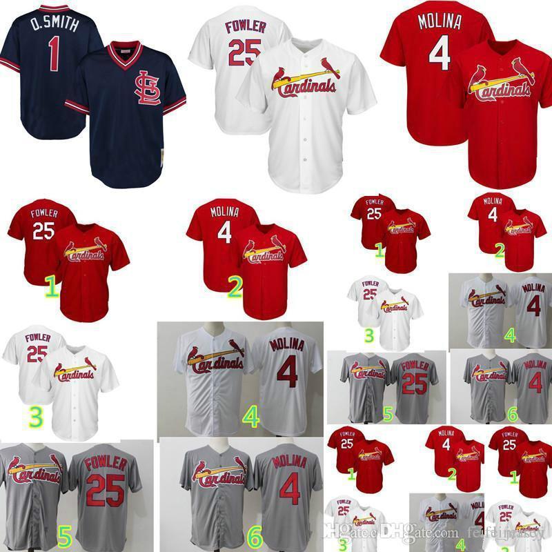 2d352f443 Men Baseball Jerseys 4 Yadier Molina 25 Dexter Fowler 1 Ozzie Smith ...