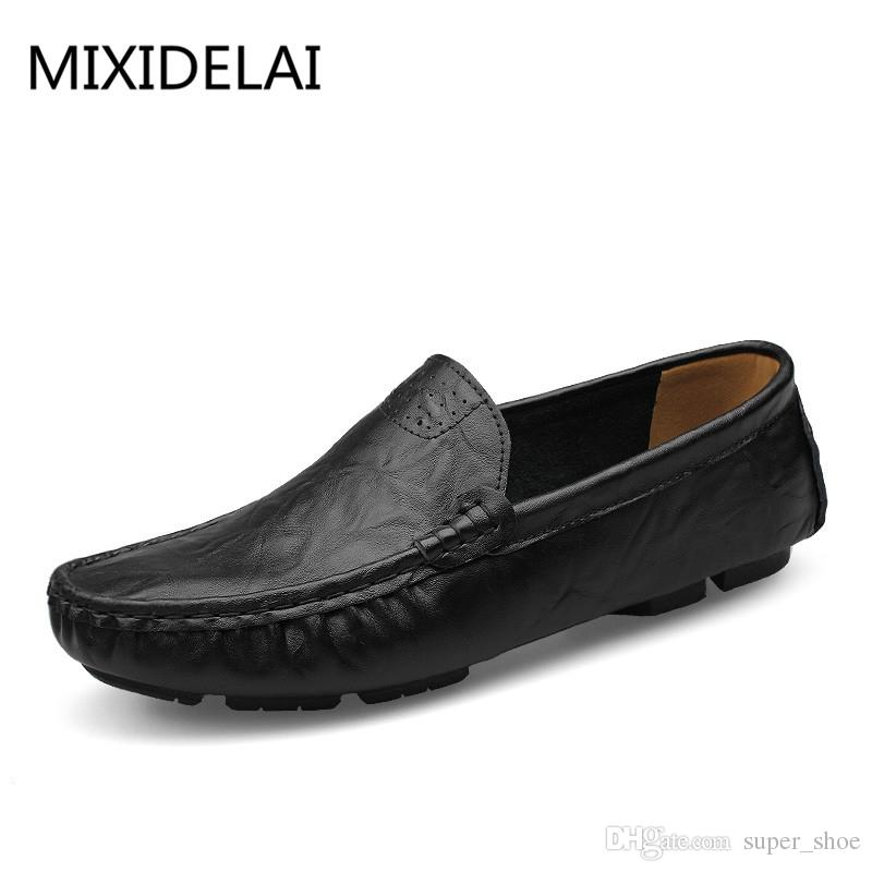 7f2e5ef1777 MIXIDELAI Soft Leather Men Loafers New Handmade Casual Shoes Men Moccasins  For Leather Flat Shoes big size 36-50 fashion #367887