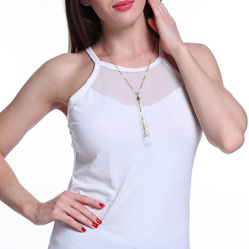 새로운 골드 컬러 월장석 모조 진주 펜던트 골치 아픈 건 목걸이 패션 여성용 긴 목걸이 체인 쥬얼리 목걸이