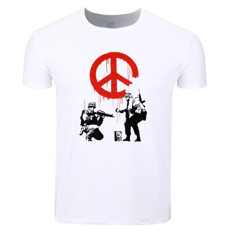 Asiático O Flower Thrower Guns Urban Verano Art Imprimir Banksy T Panda Shirt Mangas Cortas Tamaño Casual Camiseta Hombres Cuello Hcp4210 c34j5ALRq