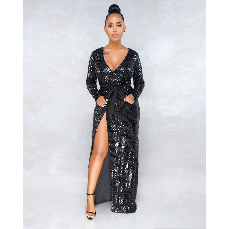 Try Everything Shiny Glitter Dress Party Long Black Sexy Dress Women