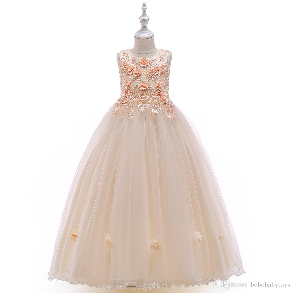 high quality kids Evening Dresses Princess skirt girl flower beaded catwalk dress small host piano costume Formal Prom Party Gowns Special O