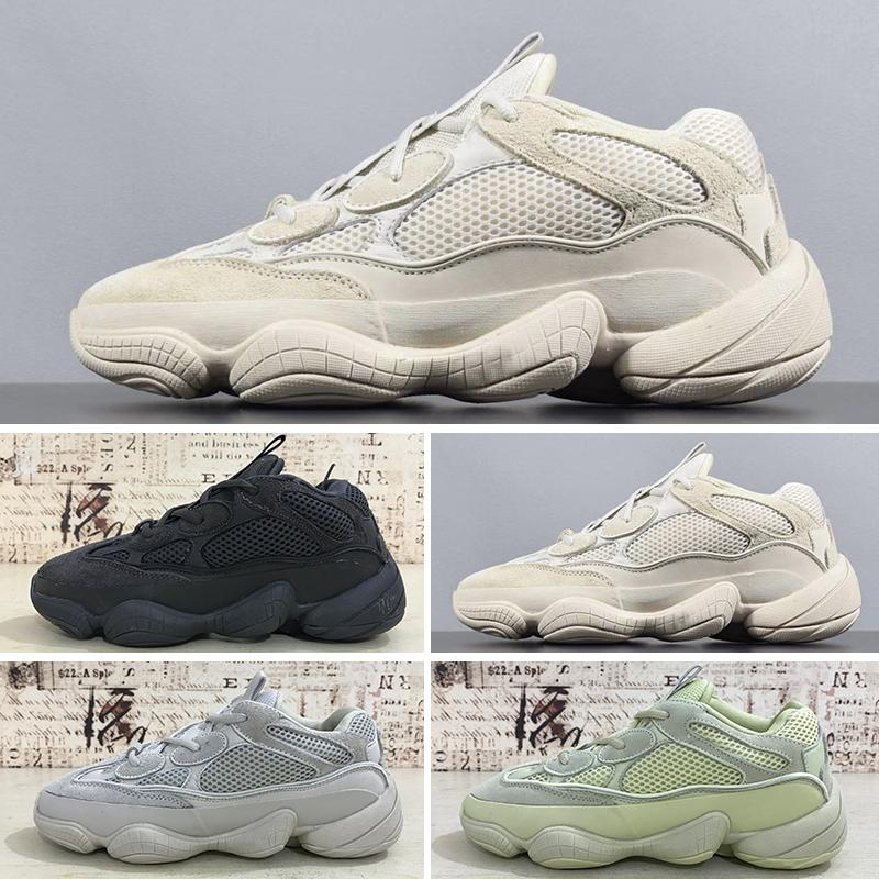new style 7fffb 67741 2019T With Box Kanye West 500 Designer Shoes Men Women Running Shoes  Utility Black Salt Super Moon Yellow Blush Sport Sneakers Size 36-46