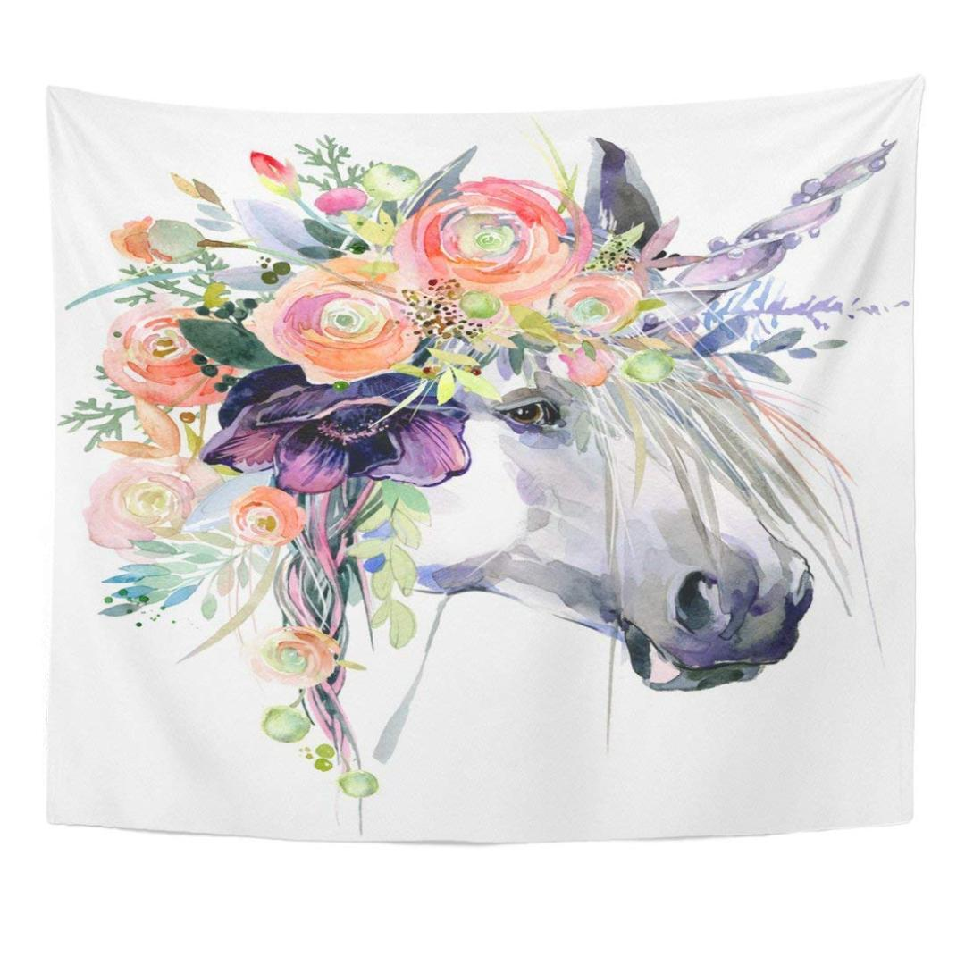 Tapestry Colorful Fairytale Watercolor Unicorn White Horse in Flower Wreath Pink Animal Beauty Home Decor Wall Hanging for Room