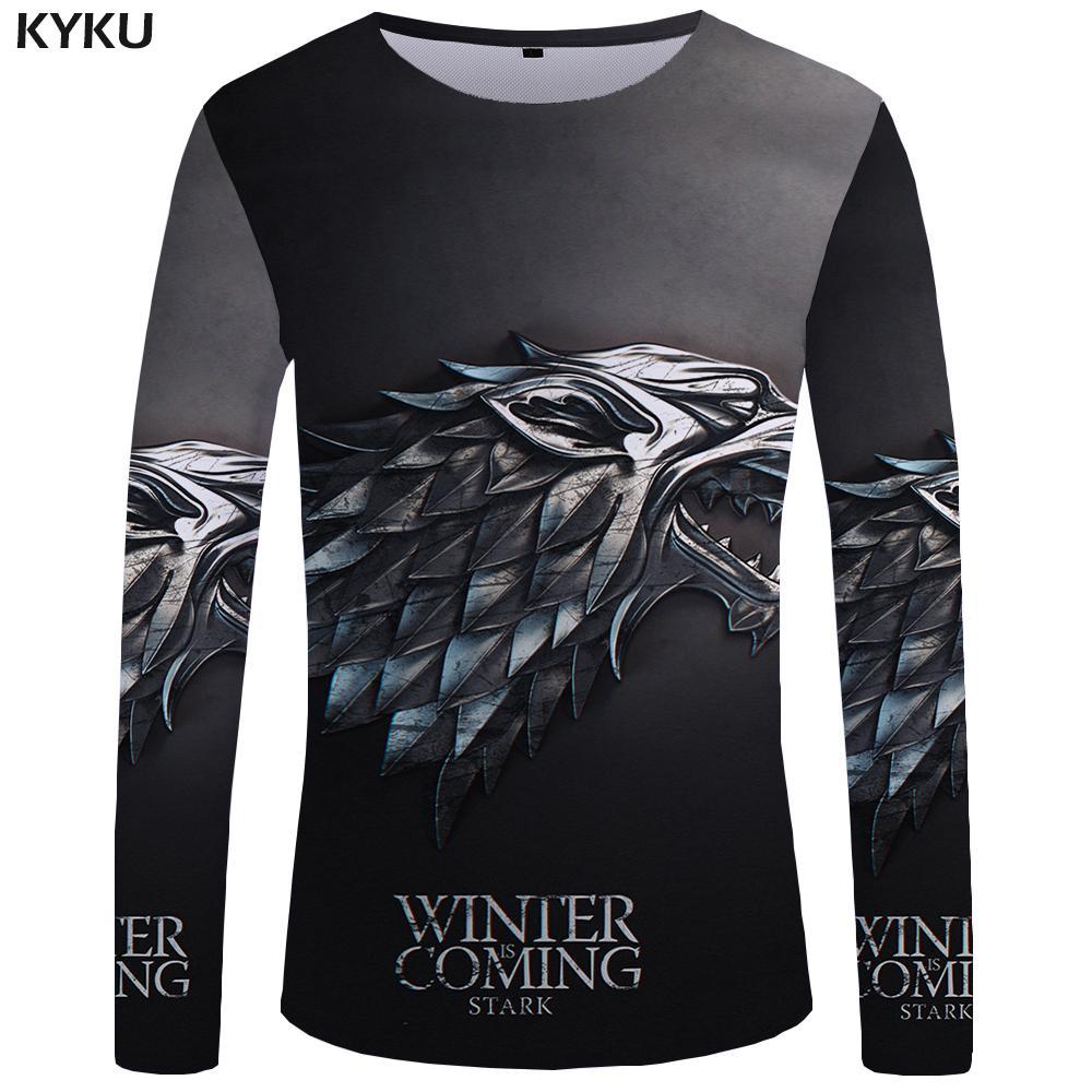 Compre KYKU Marca Game Of Thrones Camiseta De Manga Larga La Película Camisetas  Divertidas Camiseta 3D Camisetas Tops Ropa Hombres Hip Hop Punk Hombres ... f3744d6fd54