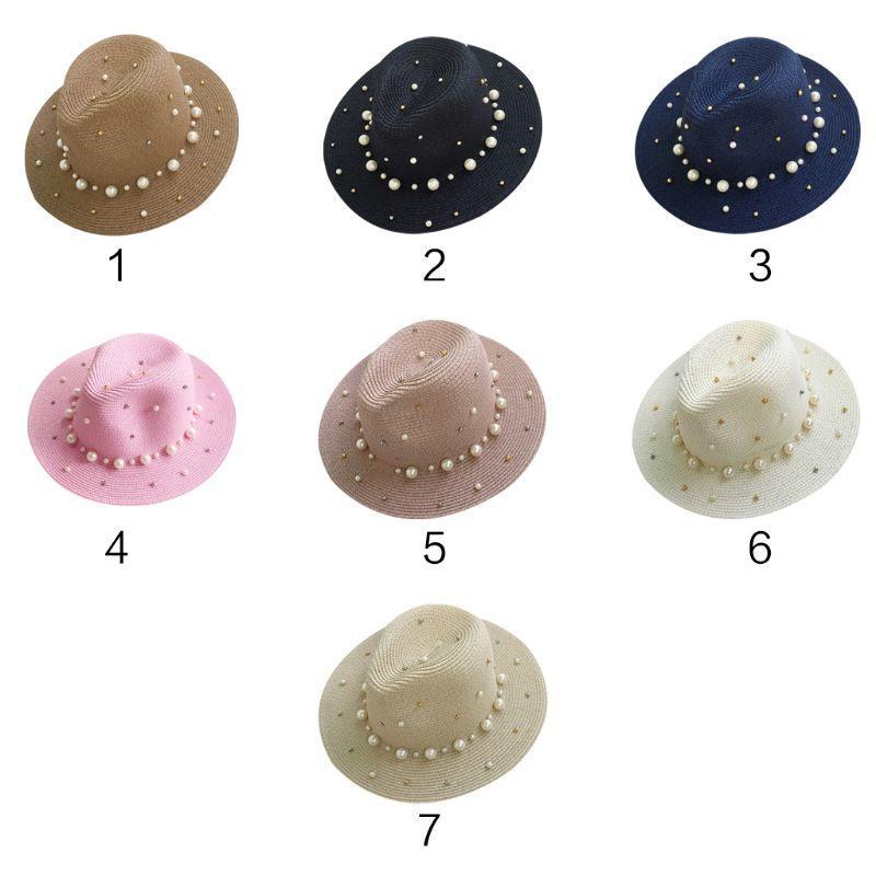 8d58598e6c7 Womens Korean Style Summer Straw Sun Visor Beach Hat Glitter Beaded ...
