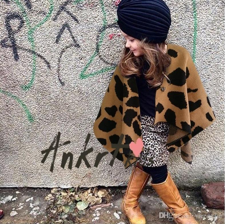 Vieeolove Girls Leopard Sweater Cape Christmas Poncho Coat 2019 New Autumn  Winter Warm Cardigan Coat Kids Outerwear YAN-665