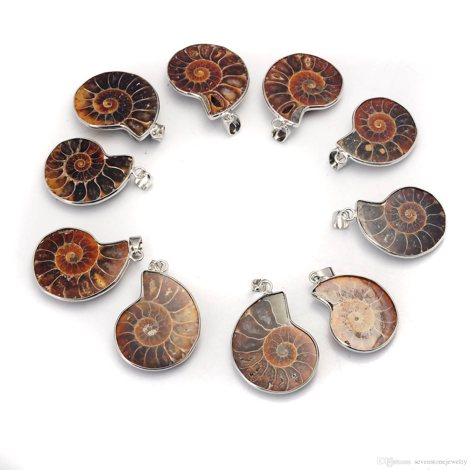 Natural Stone Chrysanthemum Fossil Pendant Silver Plated Bail Men and Women Fashion Jewelry Popular Minimalist Style